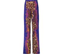 Cleo Printed Stretch-silk Wide-leg Pants Lila