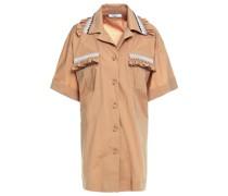 Hemd aus Popeline aus Einer Baumwollmischung mit Raffung und Stickereien