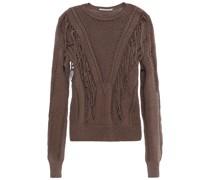 Pullover aus Häkelstrick aus Baumwolle mit Fransen