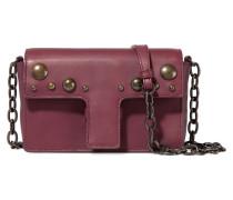 Studded Leather Shoulder Bag Bordeaux