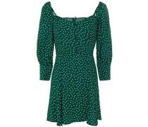 Shirred Polka-dot Crepe Mini Dress