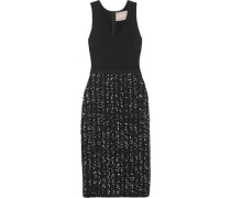 Ribbed-knit and bouclé-tweed dress
