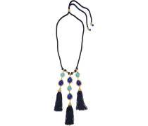 Braided Cord, Stone And Gold-tone Necklace Navy