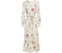 Jemima Belted Floral-print Satin-crepe Midi Dress