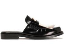 Fringed Leather Mules Black
