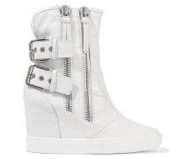 Buckled Leather Wedge Sneakers Weiß