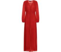 Smocked Silk-georgette Maxi Dress Brick Size 0