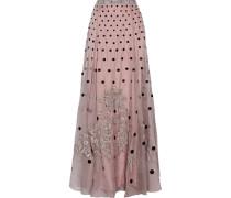 Josette Embellished Polka-dot Silk-organza Maxi Skirt Puder