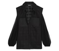 Cutout Chffon-trimmed Broderie Anglaise Cotton Shirt Schwarz