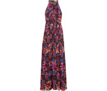 Jardin Draped Printed Silk-georgette Gown Mehrfarbig