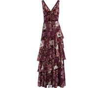Tiered Floral-print Devoré-velvet Gown