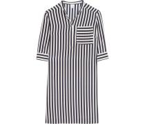 Sasha Striped Silk Shirt Dress Navy