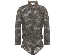 Farniente Dolce Vita Satin-trimmed Leavers Lace Bodysuit