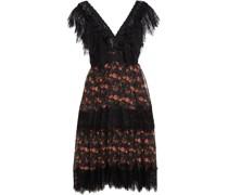 Kleid mit Einsätzen aus Schnurgebundener Spitze und Georgette aus Einer Baumwollmischung mit Floralem Print