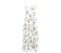 Woman Tiered Ruffle-trimmed Floral-print Silk-satin Midi Dress White