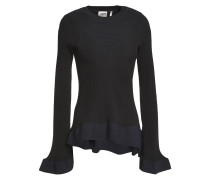 Bandage-trimmed Ribbed-knit Peplum Top