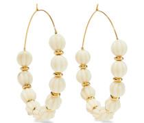 Gold-plated Beaded Hoop Earrings