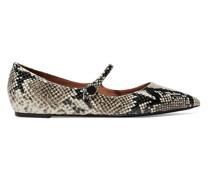 Hermione Flache Schuhe mit Spitzer Kappe aus Leder mit Schlangeneffekt