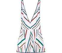 Metallic Striped Cotton-blend Mini Dress Mehrfarbig
