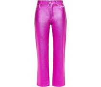 Metallic Coated High-rise Straight-leg Jeans