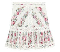 Honour Crochet-trimmed Pintucked Floral-print Cotton Mini Skirt