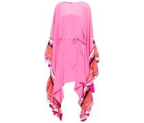 Ruffled Embellished Silk-jersey And Twill Dress
