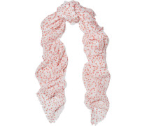 Printed Cotton And Silk-blend Scarf Weiß