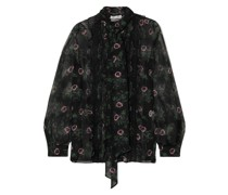 Pussy-bow Lace-trimmed Floral-print Silk-chiffon Blouse