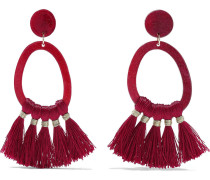 Phillipa Gold-tone, Acetate And Tassel Hoop Earrings