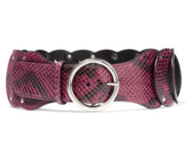 Cintura Snake-effect Leather Belt Brombeere