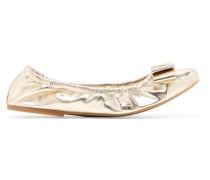Bow-embellished Metallic Textured-leather Ballet Flats Gold glänzend