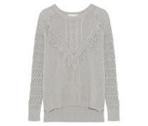 Fringed Open-knit Cotton Sweater Grau