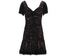 Ruched Metallic Macramé Lace Mini Dress