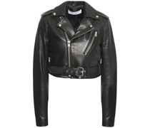 Leufy Cropped Leather Biker Jacket