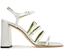 Goldie Buckled Metallic Leather Sandals