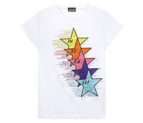 Crystal-embellished Printed Cotton-jersey T-shirt