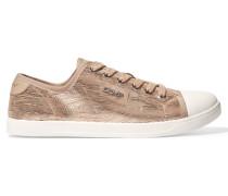 Blair Metallic Suede Sneakers Beige