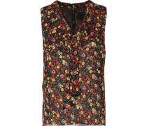 Pussy-bow floral-print silk-chiffon top