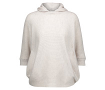 Ribbed Cashmere Hooded Sweater Weiß