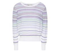 Pullover aus Baumwolle in Waffelstrick mit Streifen