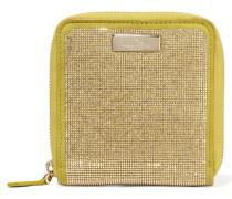 Mini Studded Suede Wallet Zitronengelb