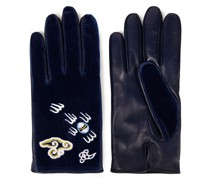 Embroidered Cotton-velvet And Leather Gloves