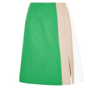 Marisa Color-block Wool-gabardine Skirt Jade