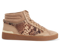 Kyle Paneled Snake-effect Leather And Suede High-top Sneakers Sand