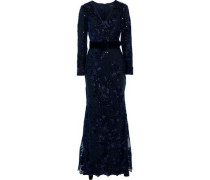 Layered Sequin-embellished Embroidered Tulle Gown Navy Size 0