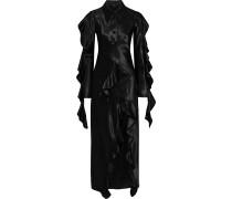 Temptress Ruffle-trimmed Paneled Satin Maxi Dress