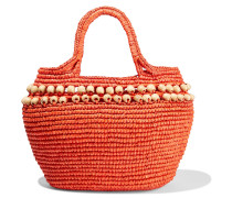 Woman Bead-embellished Woven Toquilla Straw Tote Orange