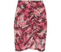 Thorn Ruched Floral-print Crepon Mini Skirt
