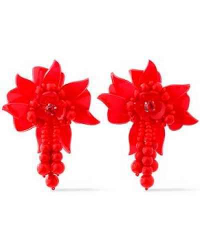 Gold-tone, Resin And Bead Clip Earrings Red Size --