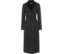 Houndstooth wool and cashmere-blend coat